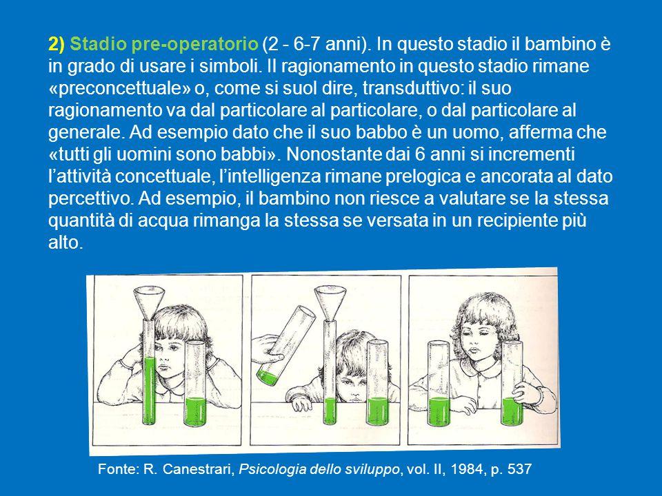 2) Stadio pre-operatorio (2 - 6-7 anni).In questo stadio il bambino è in grado di usare i simboli.