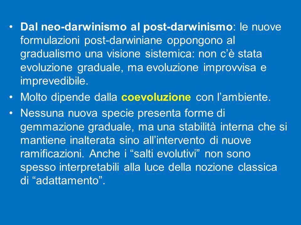 Dal neo-darwinismo al post-darwinismo: le nuove formulazioni post-darwiniane oppongono al gradualismo una visione sistemica: non c'è stata evoluzione