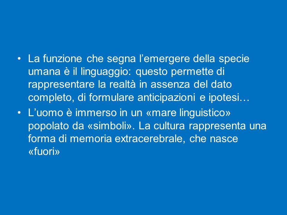 La funzione che segna l'emergere della specie umana è il linguaggio: questo permette di rappresentare la realtà in assenza del dato completo, di formu