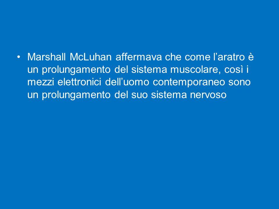 Marshall McLuhan affermava che come l'aratro è un prolungamento del sistema muscolare, così i mezzi elettronici dell'uomo contemporaneo sono un prolungamento del suo sistema nervoso