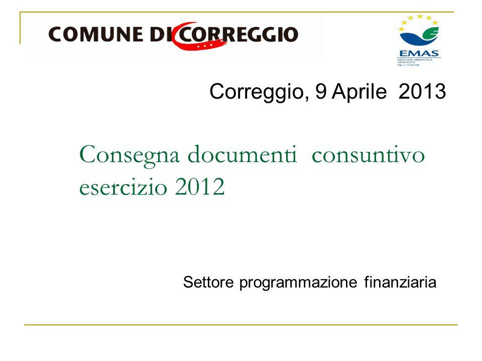 Correggio, 9 Aprile 2013 Settore programmazione finanziaria Consegna documenti consuntivo esercizio 2012