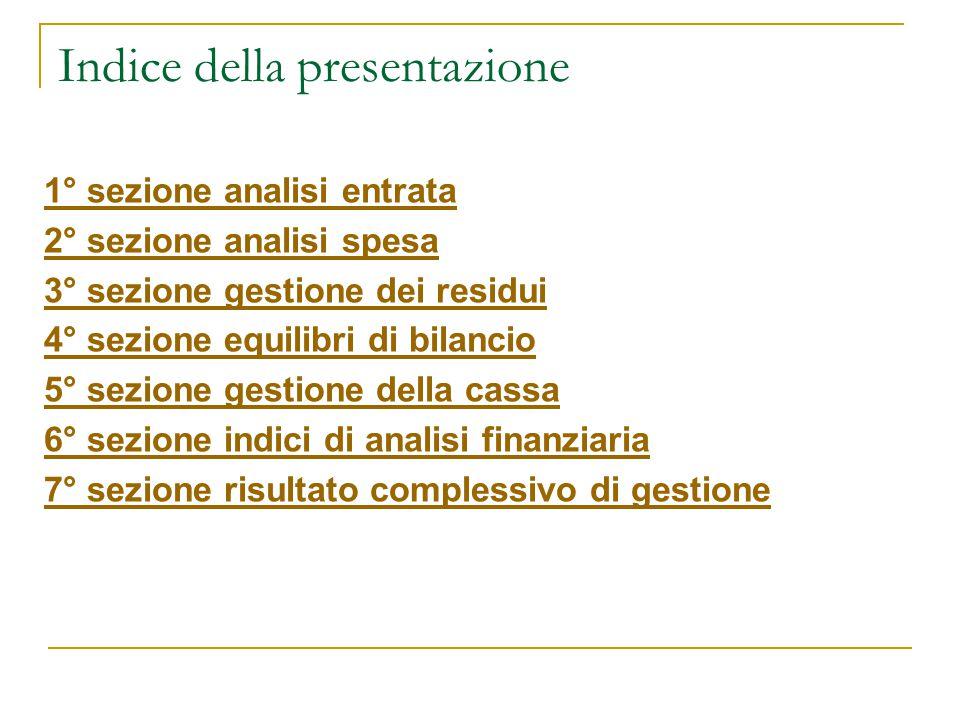 Indice della presentazione 1° sezione analisi entrata 2° sezione analisi spesa 3° sezione gestione dei residui 4° sezione equilibri di bilancio 5° sez