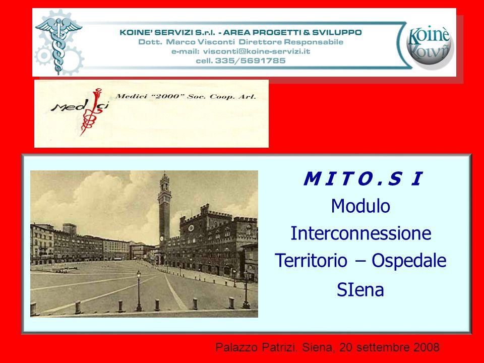 Palazzo Patrizi. Siena, 20 settembre 2008 M I T O. S I Modulo Interconnessione Territorio – Ospedale SIena