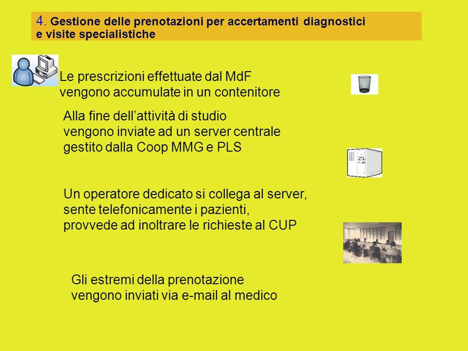 4. Gestione delle prenotazioni per accertamenti diagnostici e visite specialistiche Le prescrizioni effettuate dal MdF vengono accumulate in un conten