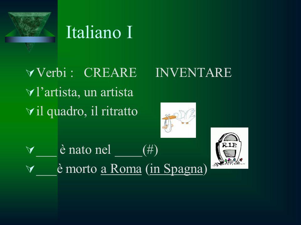 Italiano I  Verbi : CREARE INVENTARE  l'artista, un artista  il quadro, il ritratto  ___ è nato nel ____(#)  ___è morto a Roma (in Spagna)