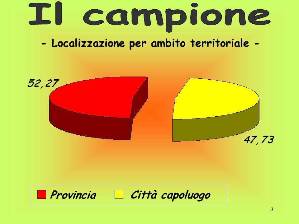 3 - Localizzazione per ambito territoriale - Provincia Città capoluogo