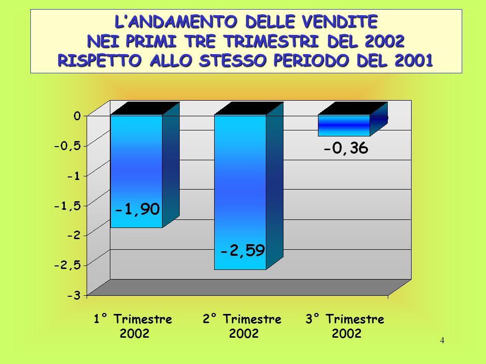 5 L'ANDAMENTO DELLE VENDITE NEL 2002 - Analisi disaggregata - NORDCENTROSUD Andamento 1° trimestre - 1,61%-5,05%2,53% Andamento 2° trimestre - 3,18%- 4,55%4,54% Andamento 3° trimestre 2,20%-6,17%-7,10% Area geografica