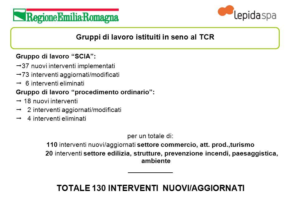 """Gruppi di lavoro istituiti in seno al TCR Gruppo di lavoro """"SCIA"""":  37 nuovi interventi implementati  73 interventi aggiornati/modificati  6 interv"""
