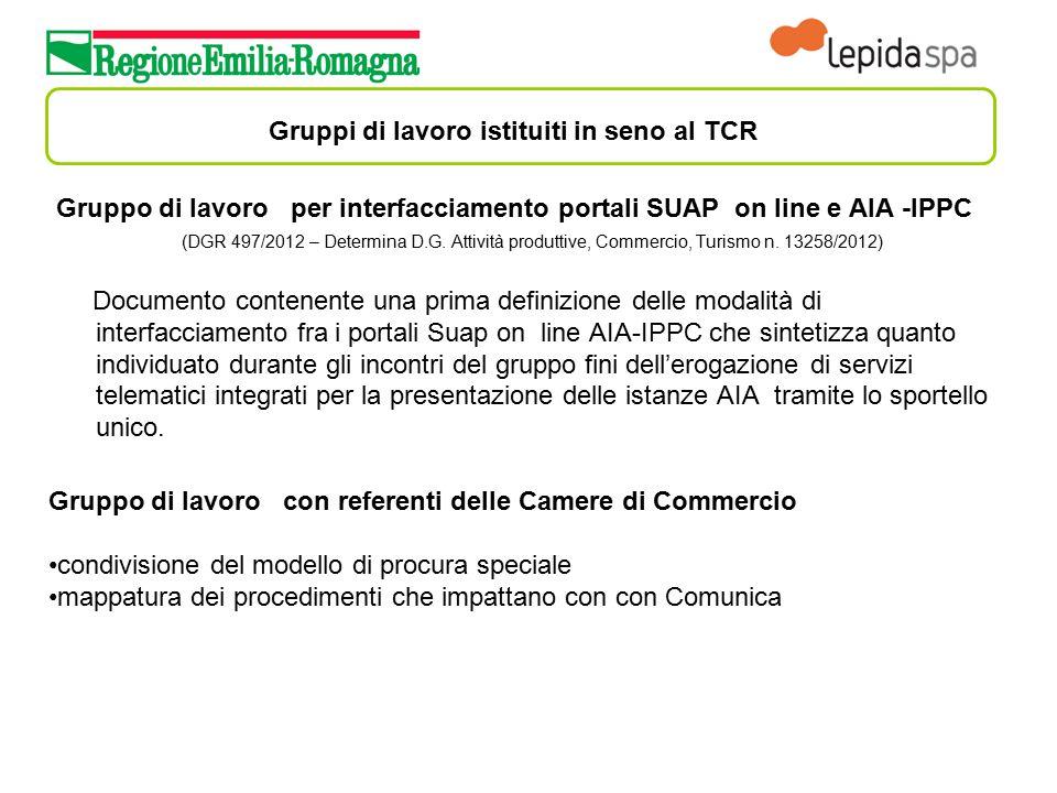 Gruppi di lavoro istituiti in seno al TCR Gruppo di lavoro per interfacciamento portali SUAP on line e AIA -IPPC (DGR 497/2012 – Determina D.G. Attivi