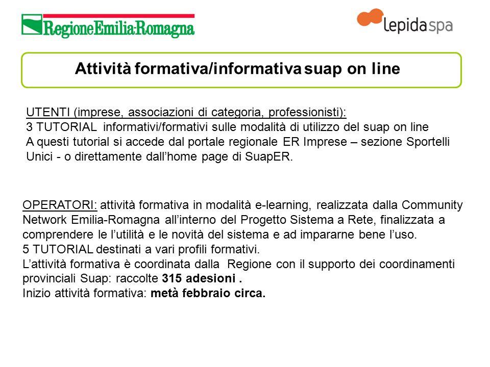 Attività formativa/informativa suap on line OPERATORI: attività formativa in modalità e-learning, realizzata dalla Community Network Emilia-Romagna al