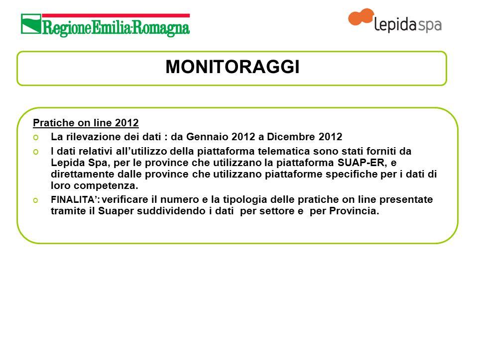 MONITORAGGI Pratiche on line 2012 oLa rilevazione dei dati : da Gennaio 2012 a Dicembre 2012 oI dati relativi all'utilizzo della piattaforma telematic