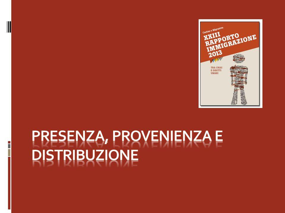 Presenza, provenienza e distribuzione La Sardegna si posiziona fra le ultime realtà regionali per numero di presenze, accogliendo soltanto lo 0,8% di tutti gli stranieri residenti in Italia.