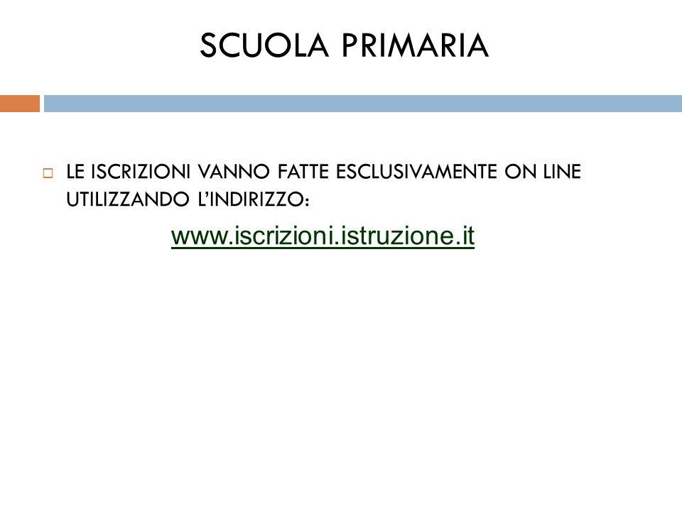 SCUOLA PRIMARIA  LE ISCRIZIONI VANNO FATTE ESCLUSIVAMENTE ON LINE UTILIZZANDO L'INDIRIZZO: www.iscrizioni.istruzione.it