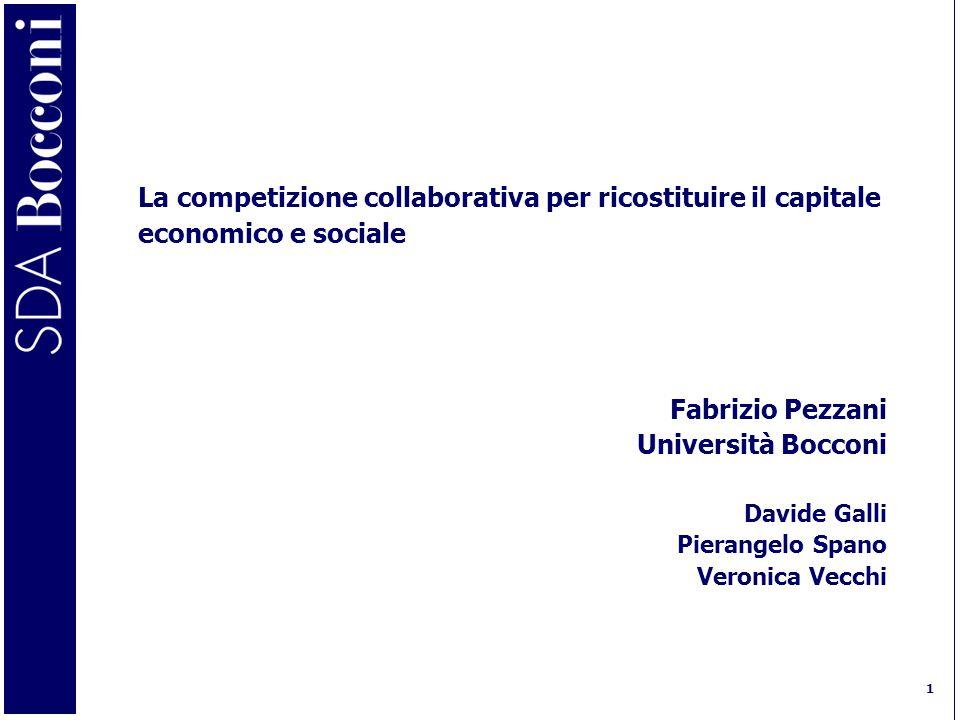 1 La competizione collaborativa per ricostituire il capitale economico e sociale Fabrizio Pezzani Università Bocconi Davide Galli Pierangelo Spano Veronica Vecchi
