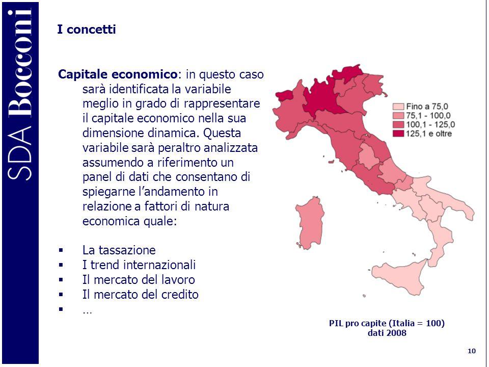 10 I concetti Capitale economico: in questo caso sarà identificata la variabile meglio in grado di rappresentare il capitale economico nella sua dimensione dinamica.