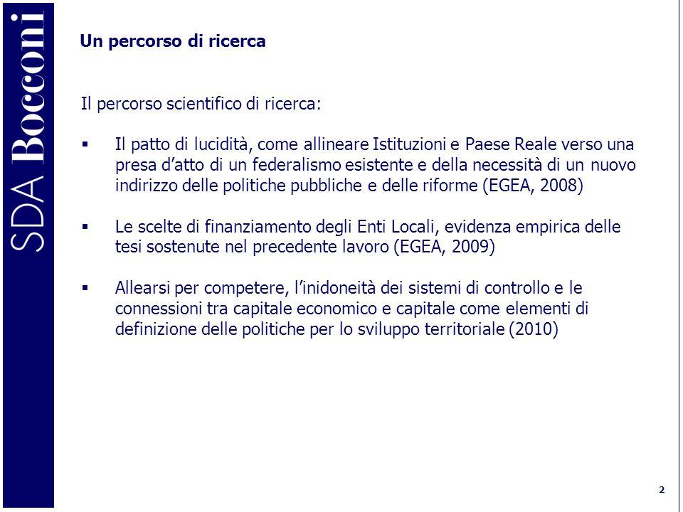 2 Un percorso di ricerca Il percorso scientifico di ricerca:  Il patto di lucidità, come allineare Istituzioni e Paese Reale verso una presa d'atto di un federalismo esistente e della necessità di un nuovo indirizzo delle politiche pubbliche e delle riforme (EGEA, 2008)  Le scelte di finanziamento degli Enti Locali, evidenza empirica delle tesi sostenute nel precedente lavoro (EGEA, 2009)  Allearsi per competere, l'inidoneità dei sistemi di controllo e le connessioni tra capitale economico e capitale come elementi di definizione delle politiche per lo sviluppo territoriale (2010)