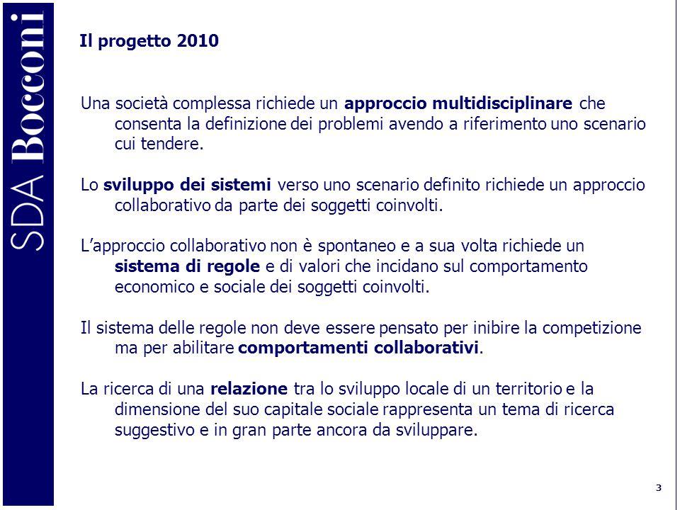3 Il progetto 2010 Una società complessa richiede un approccio multidisciplinare che consenta la definizione dei problemi avendo a riferimento uno scenario cui tendere.