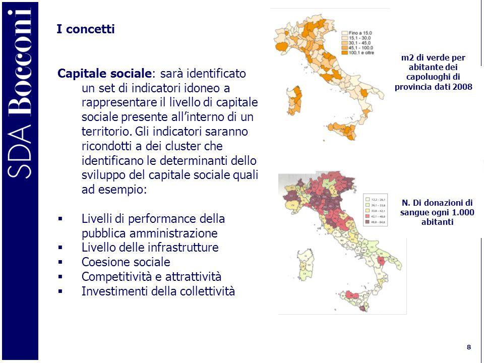 8 I concetti Capitale sociale: sarà identificato un set di indicatori idoneo a rappresentare il livello di capitale sociale presente all'interno di un territorio.