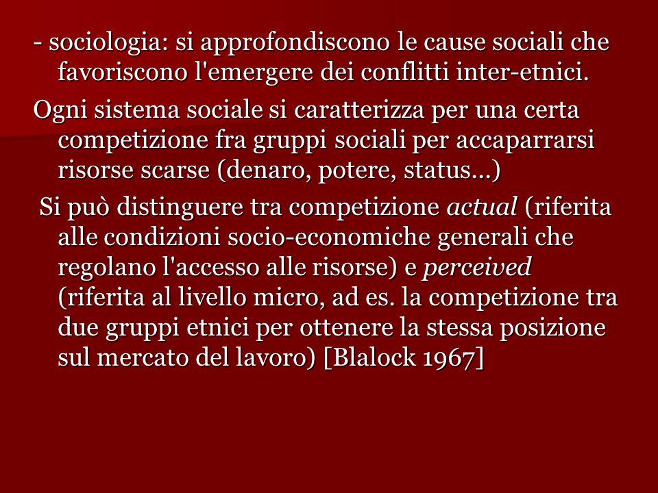 - sociologia: si approfondiscono le cause sociali che favoriscono l'emergere dei conflitti inter-etnici. Ogni sistema sociale si caratterizza per una