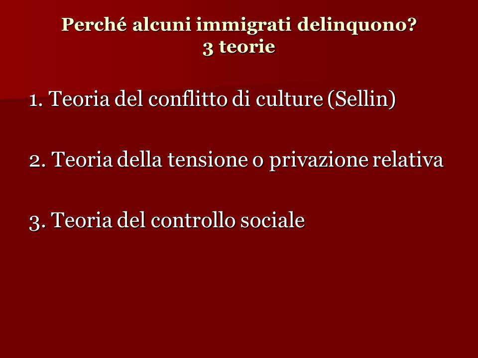 Perché alcuni immigrati delinquono? 3 teorie 1. Teoria del conflitto di culture (Sellin)  2. Teoria della tensione o privazione relativa 3. Teoria de