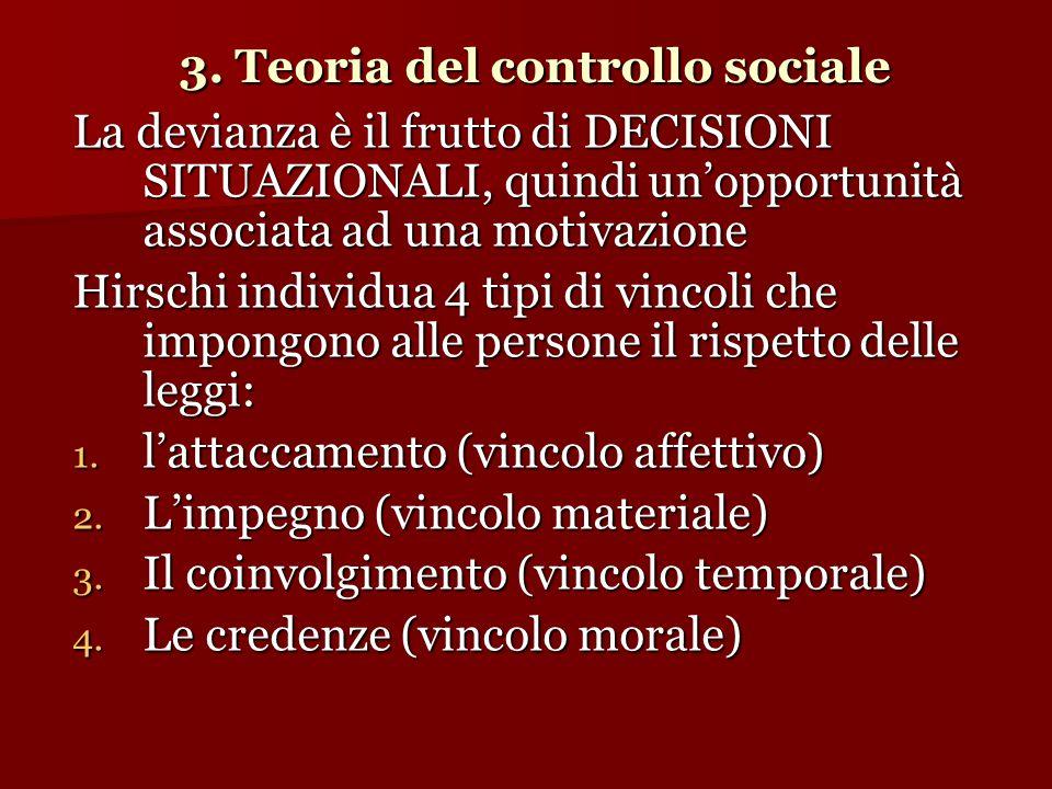 3. Teoria del controllo sociale La devianza è il frutto di DECISIONI SITUAZIONALI, quindi un'opportunità associata ad una motivazione Hirschi individu