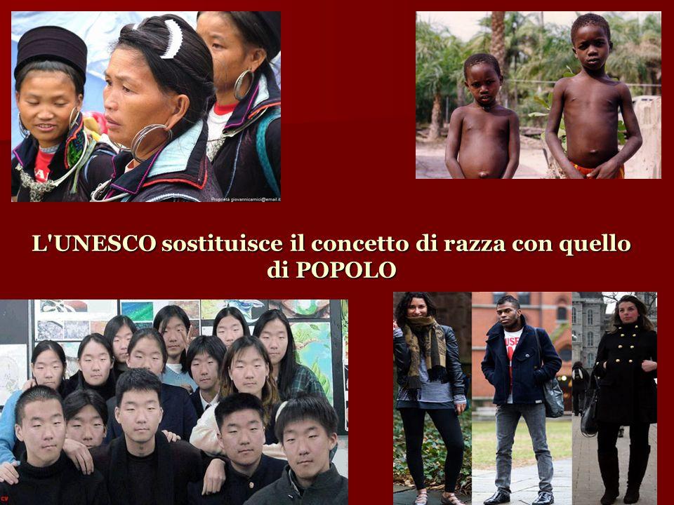 L'UNESCO sostituisce il concetto di razza con quello di POPOLO