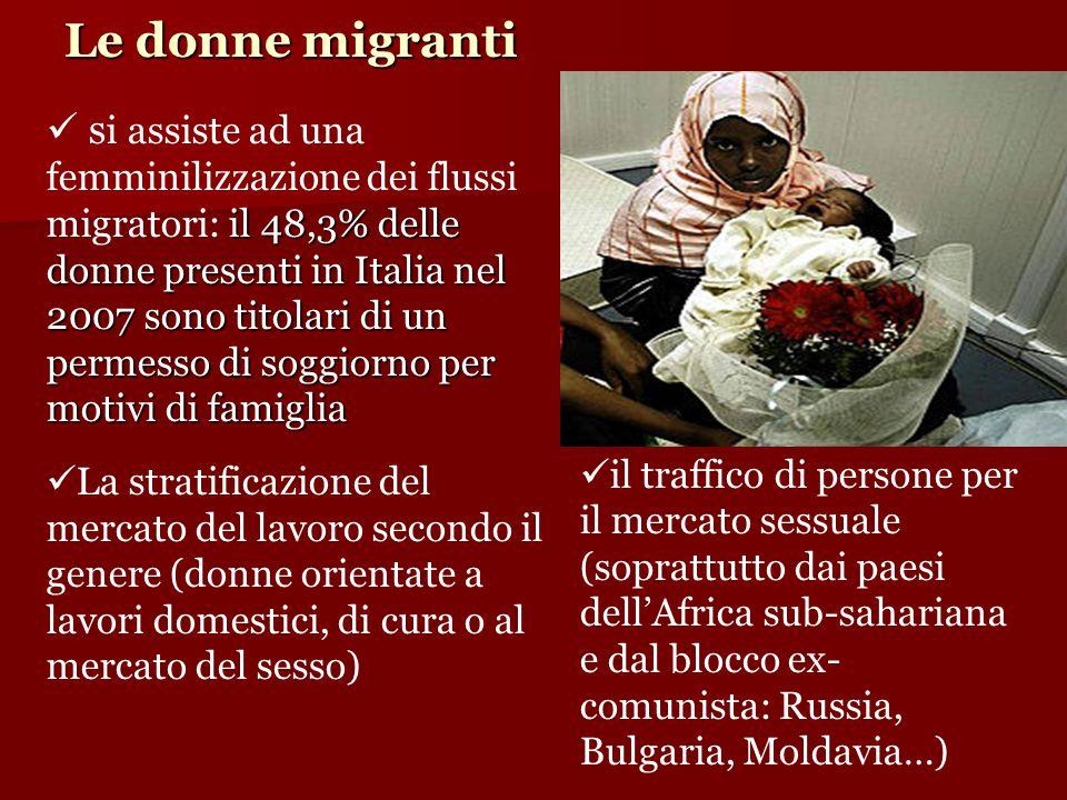 Le donne migranti il 48,3% delle donne presenti in Italia nel 2007 sono titolari di un permesso di soggiorno per motivi di famiglia s i assiste ad una femminilizzazione dei flussi migratori: il 48,3% delle donne presenti in Italia nel 2007 sono titolari di un permesso di soggiorno per motivi di famiglia La stratificazione del mercato del lavoro secondo il genere (donne orientate a lavori domestici, di cura o al mercato del sesso)  il traffico di persone per il mercato sessuale (soprattutto dai paesi dell'Africa sub-sahariana e dal blocco ex- comunista: Russia, Bulgaria, Moldavia…) 