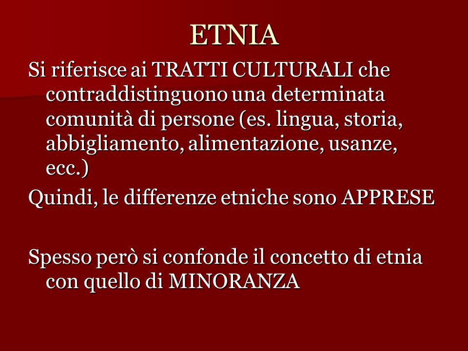 ETNIA Si riferisce ai TRATTI CULTURALI che contraddistinguono una determinata comunità di persone (es. lingua, storia, abbigliamento, alimentazione, u