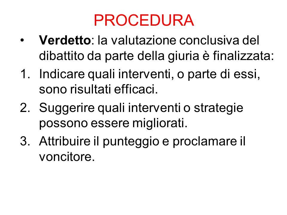 PROCEDURA Verdetto: la valutazione conclusiva del dibattito da parte della giuria è finalizzata: 1.Indicare quali interventi, o parte di essi, sono risultati efficaci.