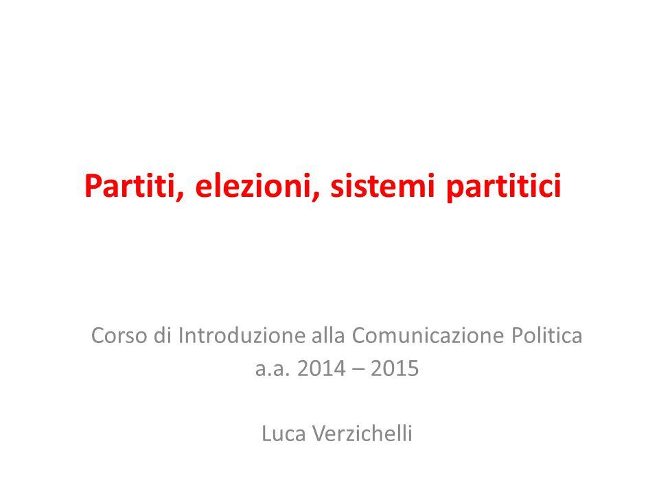 Partiti, elezioni, sistemi partitici Corso di Introduzione alla Comunicazione Politica a.a. 2014 – 2015 Luca Verzichelli