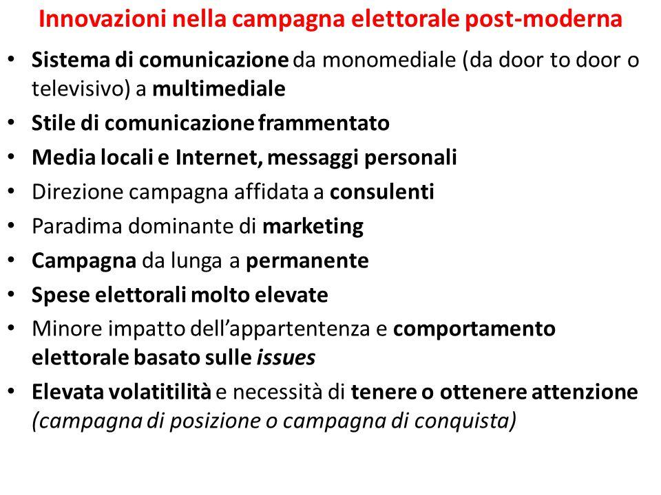 Innovazioni nella campagna elettorale post-moderna Sistema di comunicazione da monomediale (da door to door o televisivo) a multimediale Stile di comu