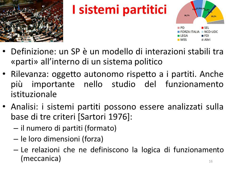 I sistemi partitici Definizione: un SP è un modello di interazioni stabili tra «parti» all'interno di un sistema politico Rilevanza: oggetto autonomo