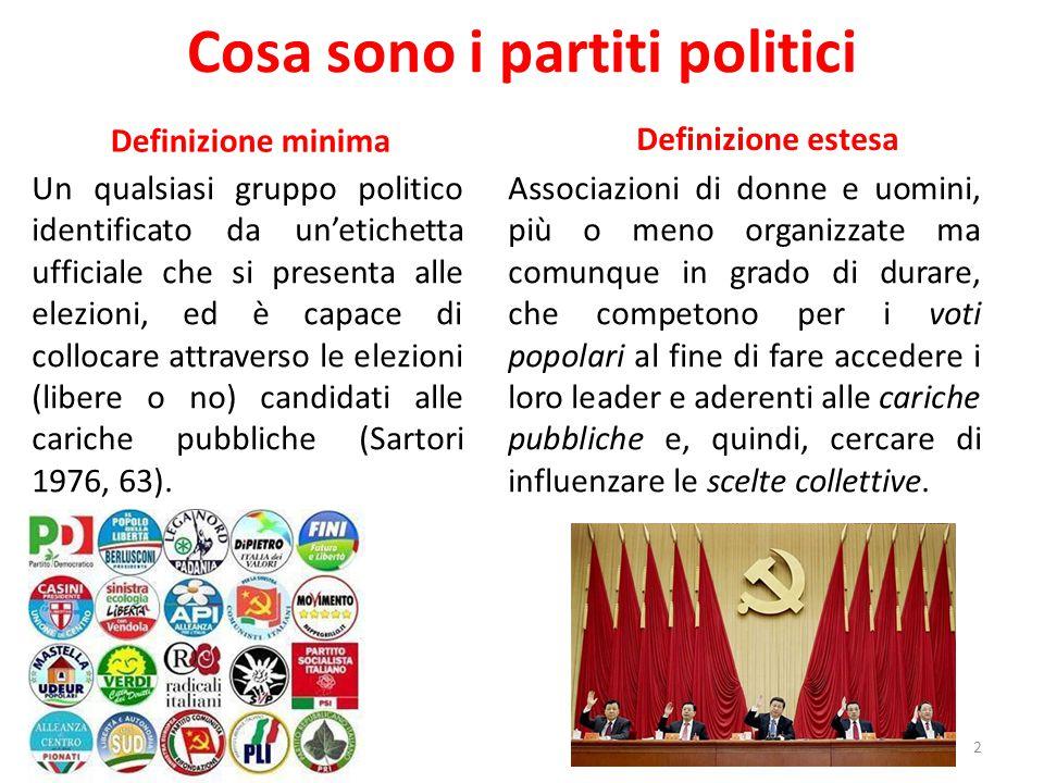 Cosa sono i partiti politici Definizione minima Un qualsiasi gruppo politico identificato da un'etichetta ufficiale che si presenta alle elezioni, ed