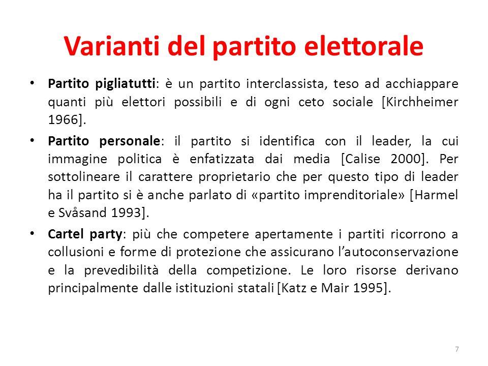 Varianti del partito elettorale Partito pigliatutti: è un partito interclassista, teso ad acchiappare quanti più elettori possibili e di ogni ceto soc