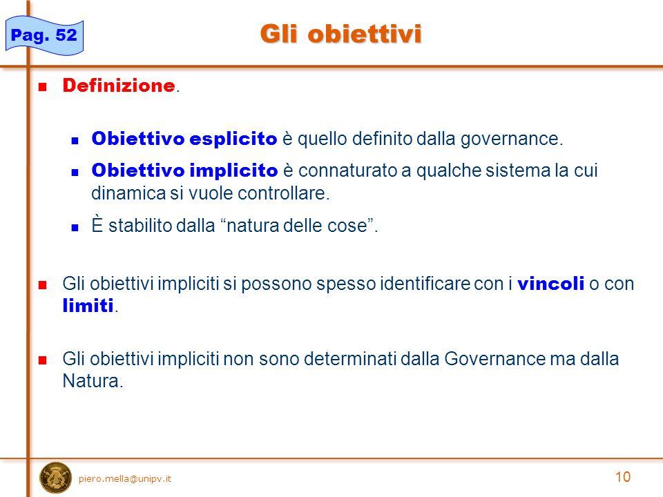 10 piero.mella@unipv.it Gli obiettivi Definizione.
