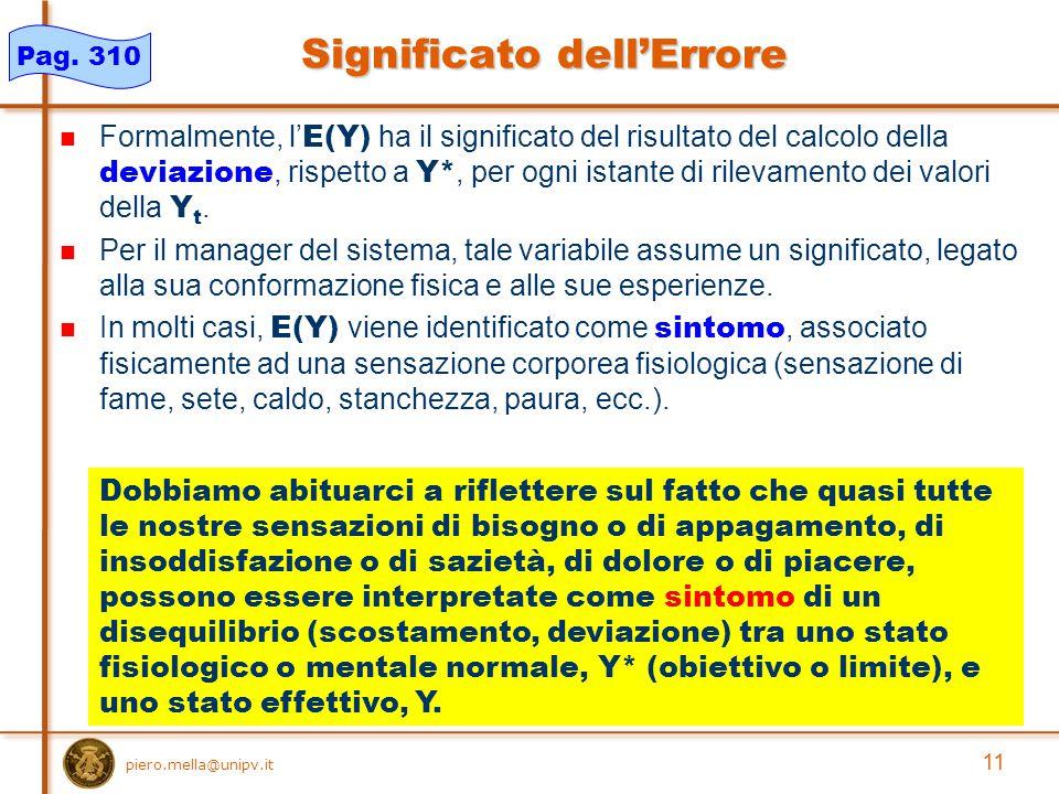 11 piero.mella@unipv.it Significato dell'Errore Formalmente, l' E(Y) ha il significato del risultato del calcolo della deviazione, rispetto a Y*, per ogni istante di rilevamento dei valori della Y t.