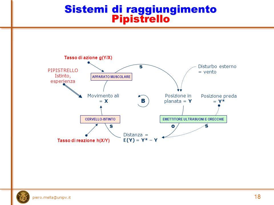 piero.mella@unipv.it 18 Sistemi di raggiungimento Pipistrello Posizione in planata = Y Movimento ali = X s Posizione preda = Y* Distanza = E(Y) = Y* – Y o s B s Disturbo esterno = vento Tasso di azione g(Y/X) Tasso di reazione h(X/Y) EMETTITORE ULTRASUONI E ORECCHIECERVELLO-ISTINTO PIPISTRELLO Istinto, esperienza APPARATO MUSCOLARE