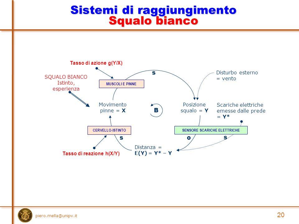 piero.mella@unipv.it 20 Sistemi di raggiungimento Squalo bianco Posizione squalo = Y Movimento pinne = X s Scariche elettriche emesse dalle prede = Y* Distanza = E(Y) = Y* – Y o s B s Disturbo esterno = vento Tasso di azione g(Y/X) Tasso di reazione h(X/Y) SENSORE SCARICHE ELETTRICHECERVELLO-ISTINTO SQUALO BIANCO Istinto, esperienza MUSCOLI E PINNE
