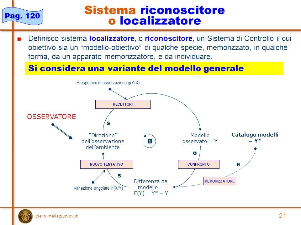 Definisco sistema localizzatore, o riconoscitore, un Sistema di Controllo il cui obiettivo sia un modello-obiettivo di qualche specie, memorizzato, in qualche forma, da un apparato memorizzatore, e da individuare.