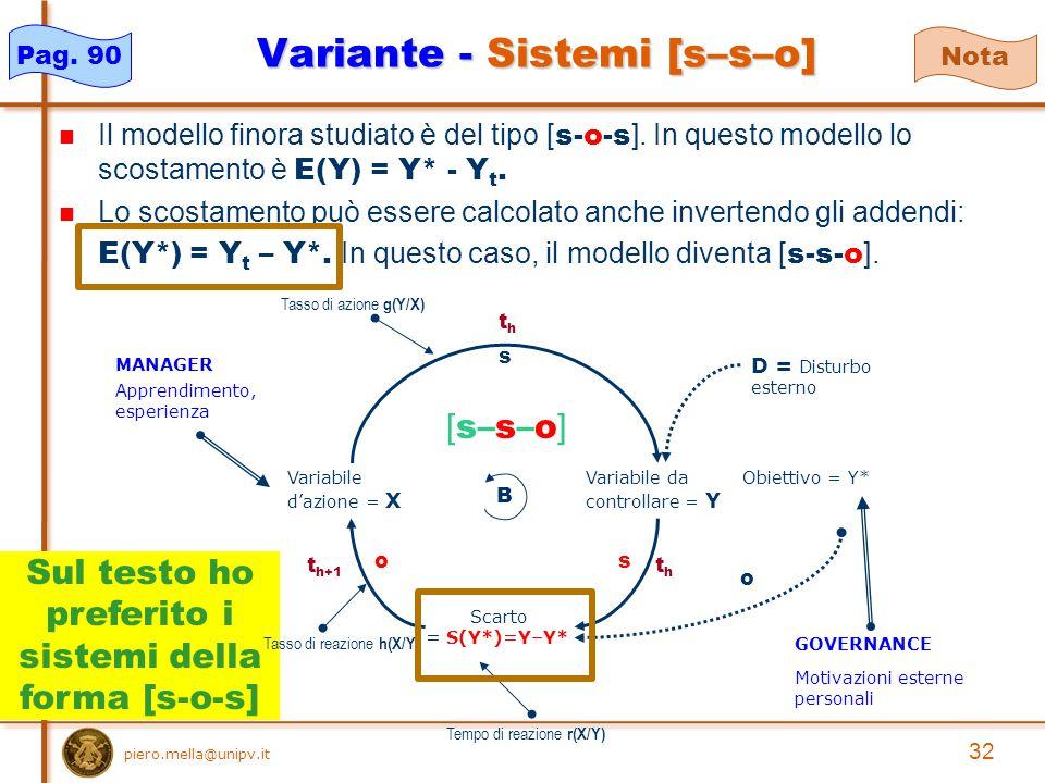 Sul testo ho preferito i sistemi della forma [s-o-s] 32 piero.mella@unipv.it Variante - Sistemi [s–s–o] Il modello finora studiato è del tipo [ s-o-s ].