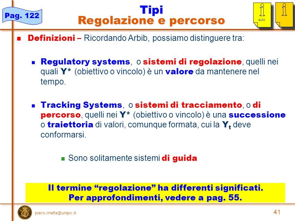 41 piero.mella@unipv.it Definizioni – Ricordando Arbib, possiamo distinguere tra: Regulatory systems, o sistemi di regolazione, quelli nei quali Y* (obiettivo o vincolo) è un valore da mantenere nel tempo.