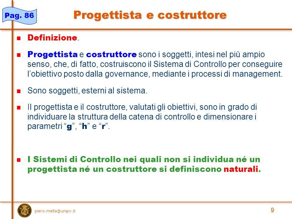 9 piero.mella@unipv.it Progettista e costruttore Definizione.
