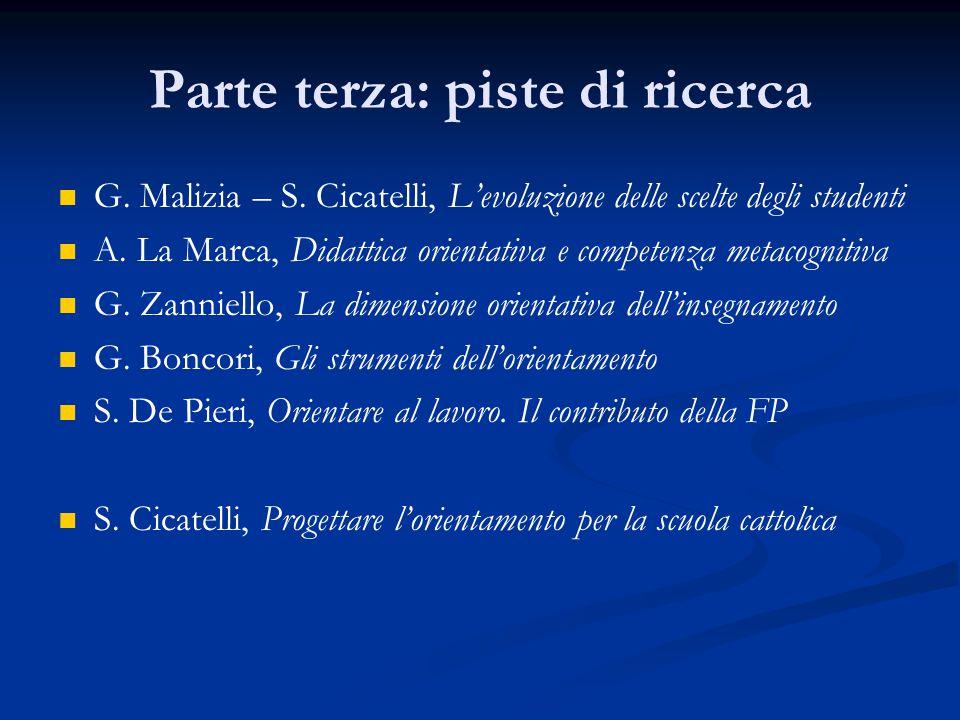 Parte terza: piste di ricerca G. Malizia – S.