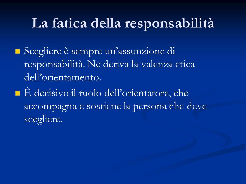 La fatica della responsabilità Scegliere è sempre un'assunzione di responsabilità.