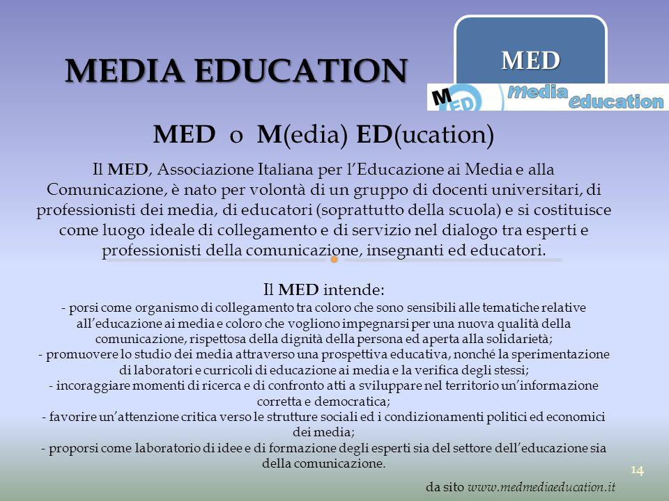 MEDIA EDUCATION MED o M (edia) ED (ucation) Il MED, Associazione Italiana per l'Educazione ai Media e alla Comunicazione, è nato per volontà di un gru