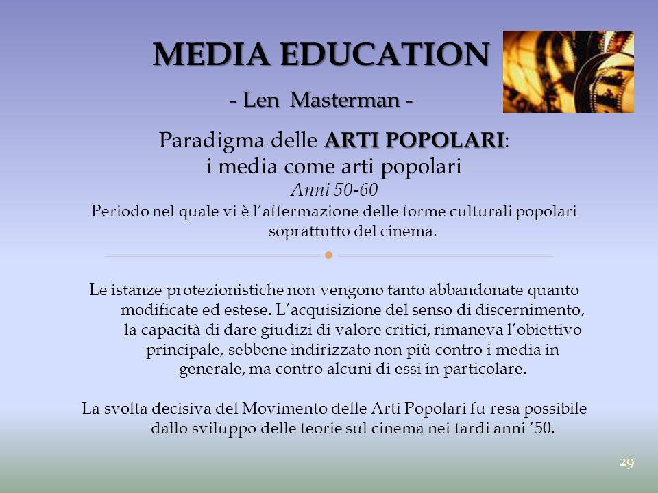MEDIA EDUCATION - Len Masterman - ARTI POPOLARI Paradigma delle ARTI POPOLARI : i media come arti popolari Anni 50-60 Periodo nel quale vi è l'afferma