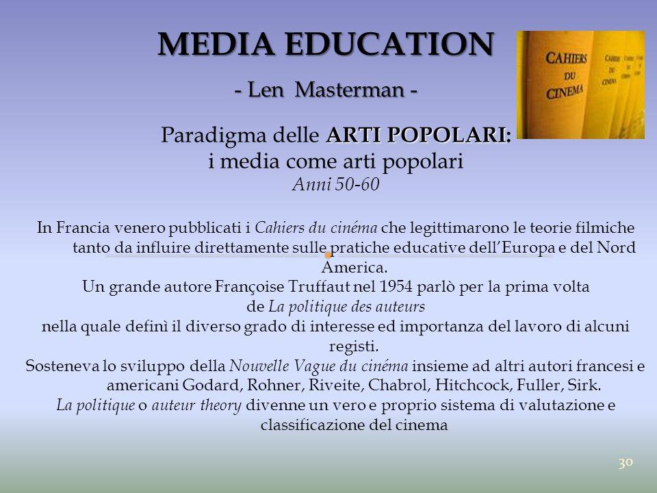 MEDIA EDUCATION - Len Masterman - ARTI POPOLARI Paradigma delle ARTI POPOLARI: i media come arti popolari Anni 50-60 In Francia venero pubblicati i Ca