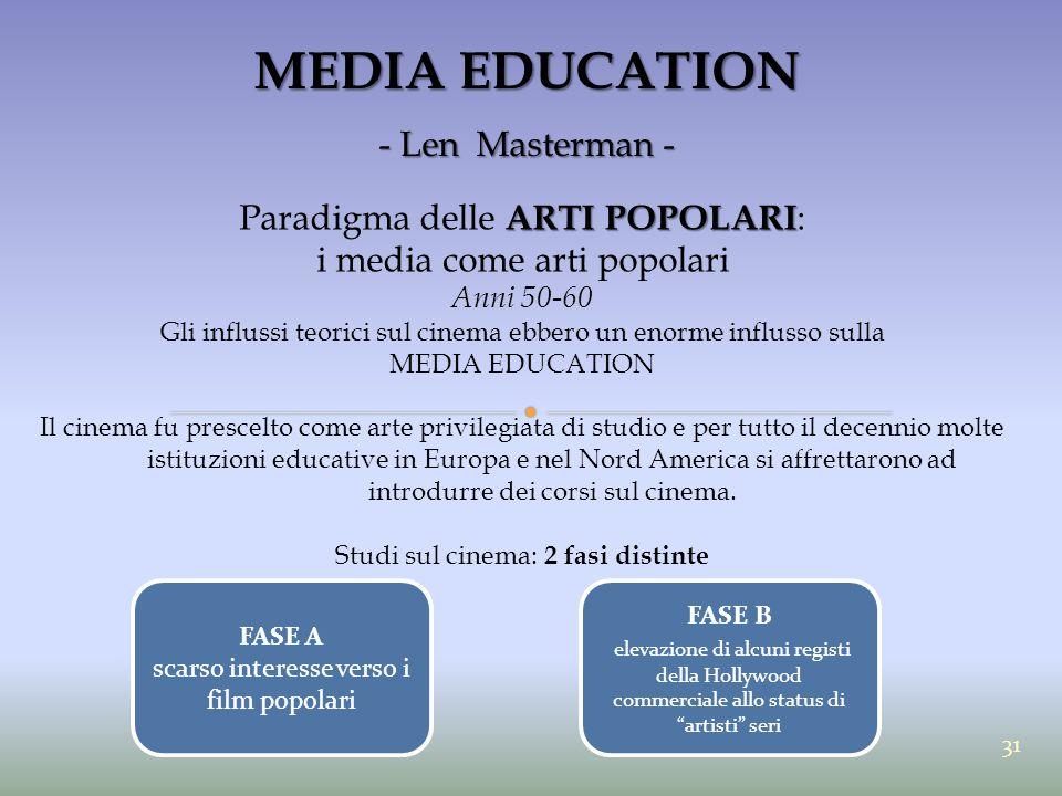 MEDIA EDUCATION - Len Masterman - ARTI POPOLARI Paradigma delle ARTI POPOLARI : i media come arti popolari Anni 50-60 Gli influssi teorici sul cinema