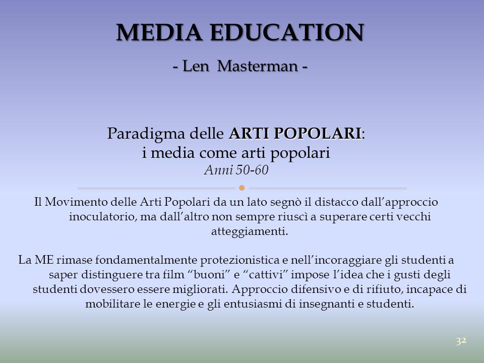 MEDIA EDUCATION - Len Masterman - ARTI POPOLARI Paradigma delle ARTI POPOLARI : i media come arti popolari Anni 50-60 Il Movimento delle Arti Popolari