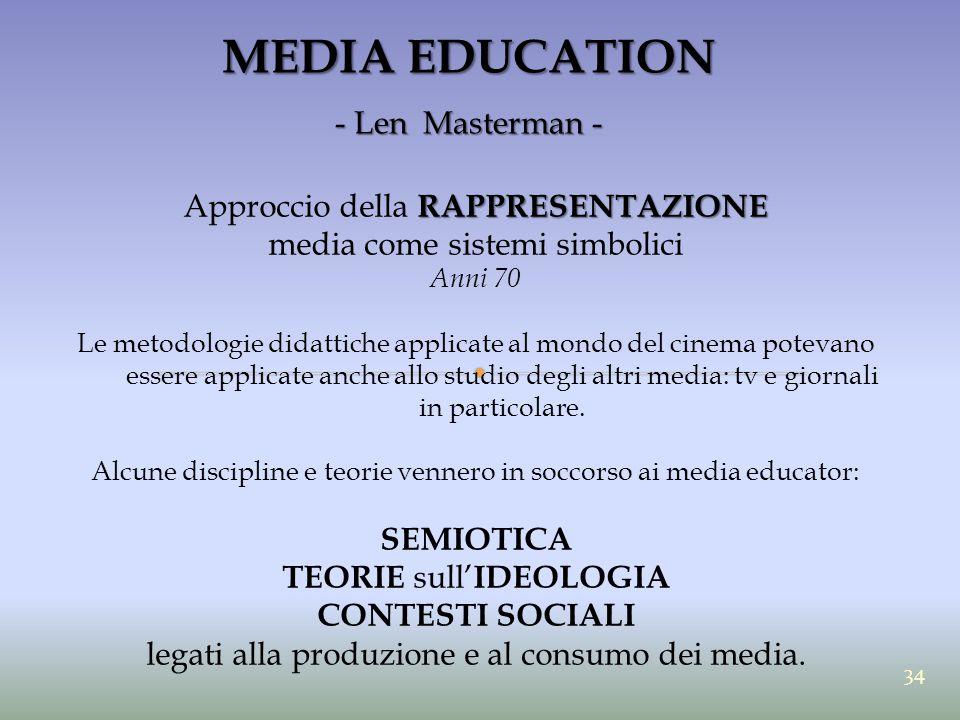 MEDIA EDUCATION - Len Masterman - RAPPRESENTAZIONE Approccio della RAPPRESENTAZIONE media come sistemi simbolici Anni 70 Le metodologie didattiche app